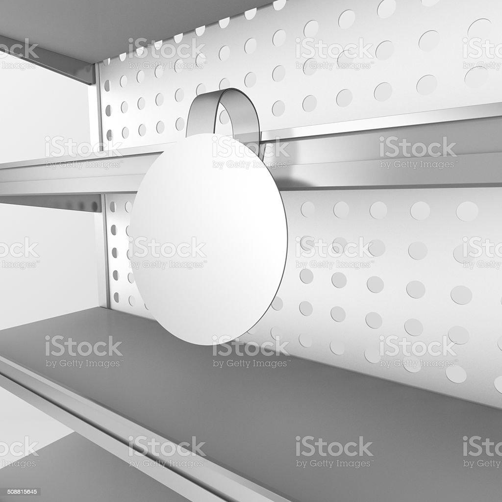 shelf with wobbler stock photo