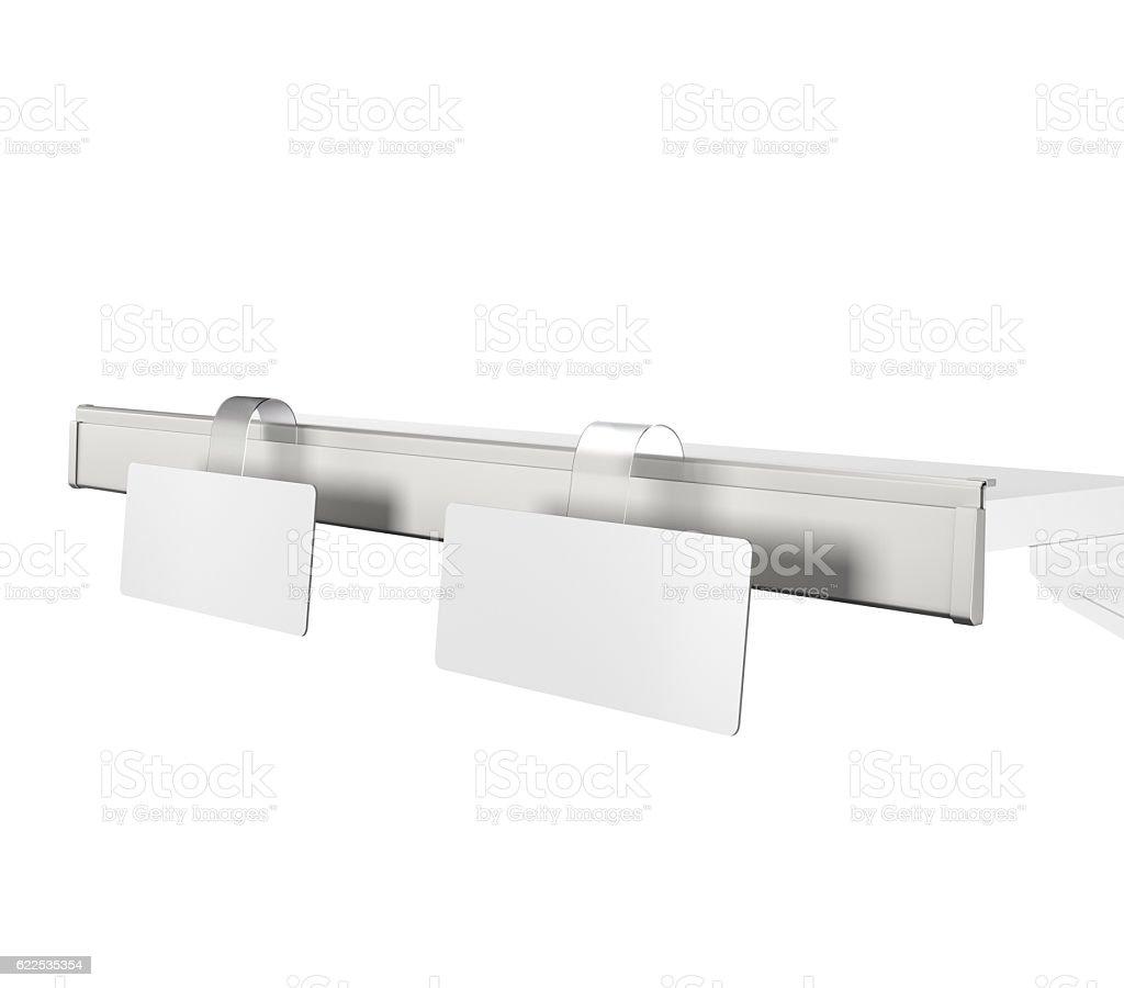 shelf with wobblers stock photo
