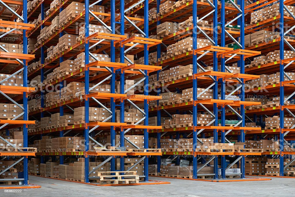 Shelfs in warehouse aisle stock photo