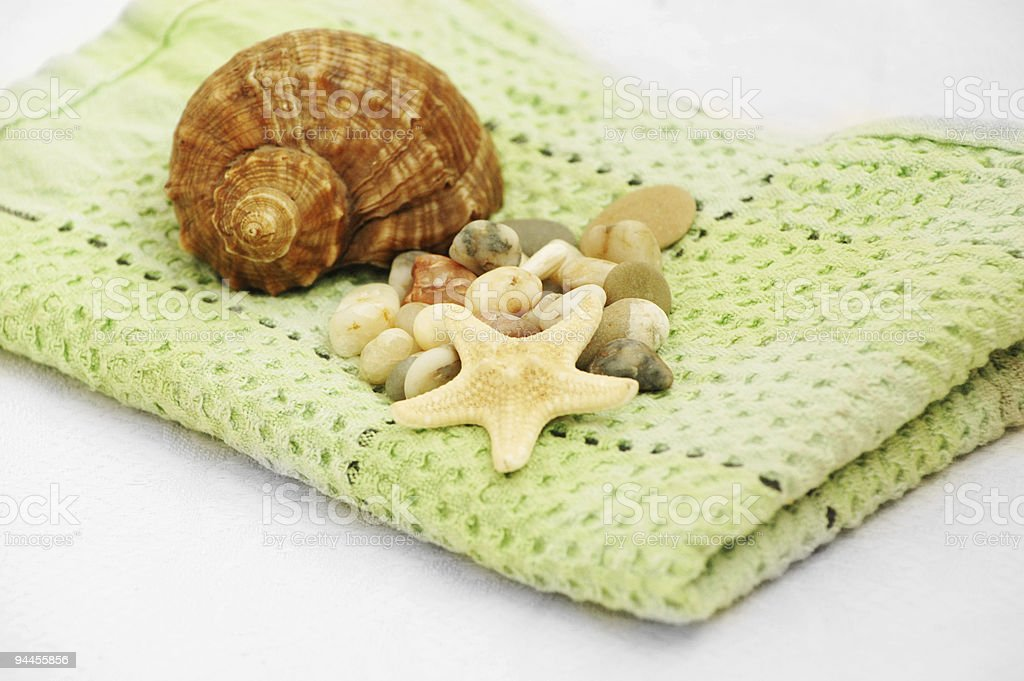 shell and towel stock photo