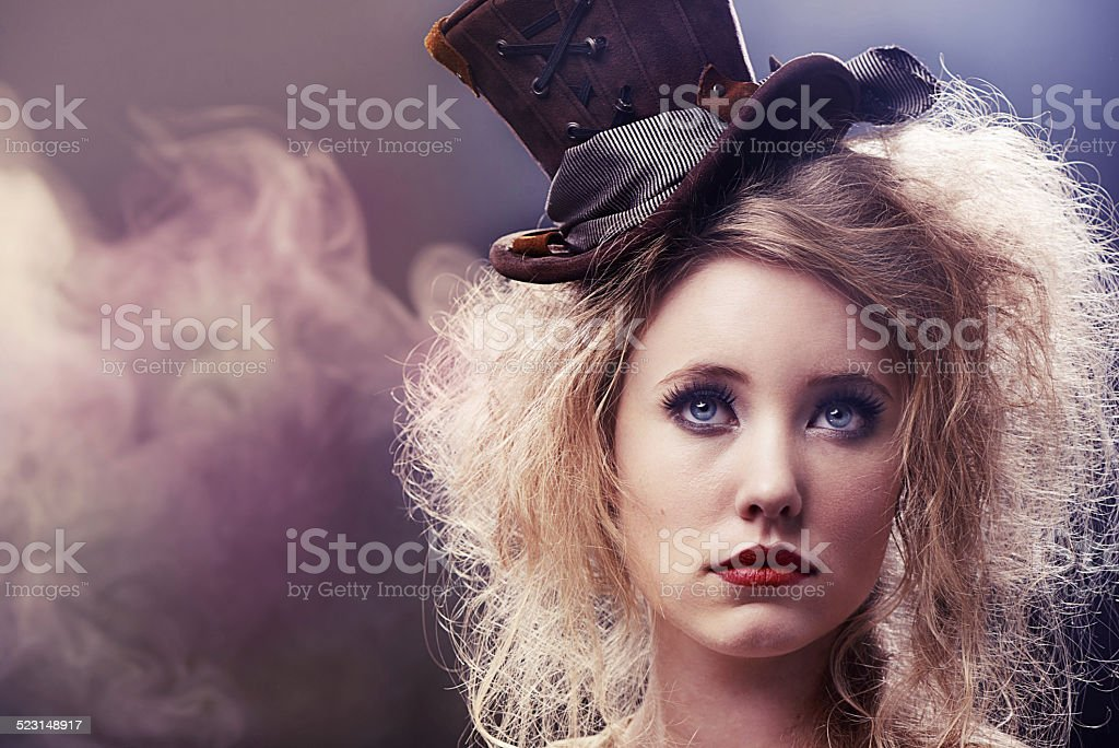 She'll blow your mind with her smoking tricks stock photo