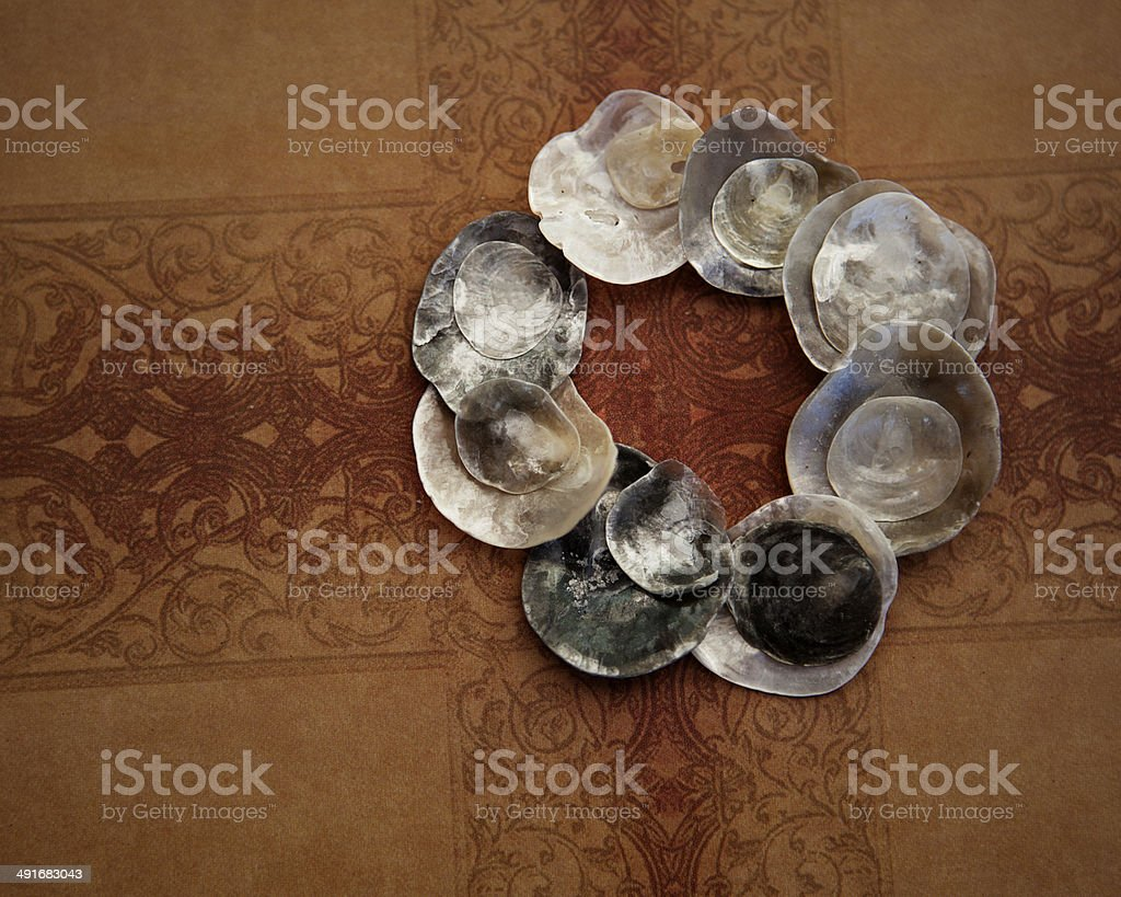 Shell circle on vintage background royalty-free stock photo