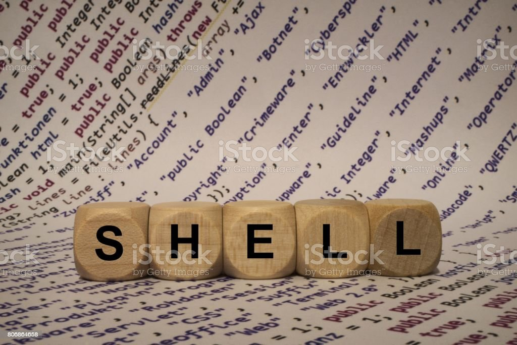 shell - cube with letters and words from the computer, software, internet categories, wooden cubes stock photo