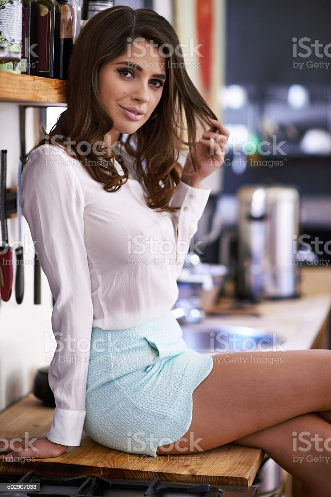 She'll flirt her way right into your dreams stock photo