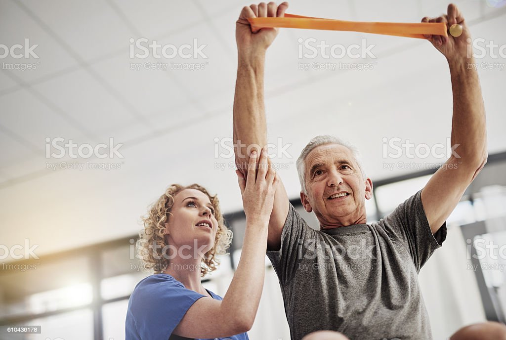 She'll get him fighting fit stock photo