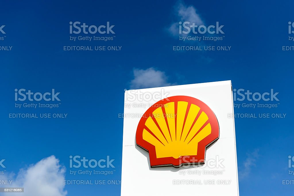Shell logo on a gas station stock photo