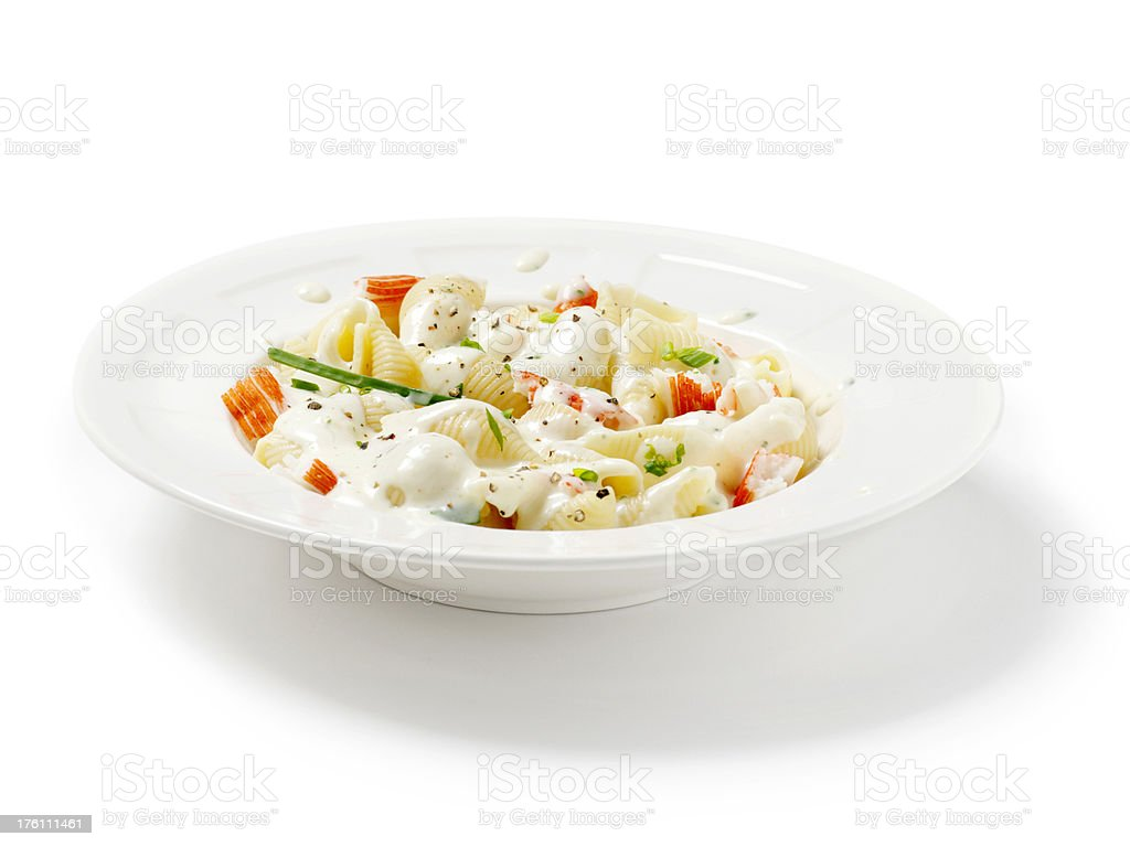 Shell Pasta Alfredo with Lobster Meat stock photo