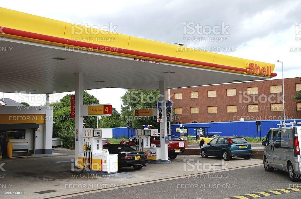 Shell petrol filling station, England stock photo