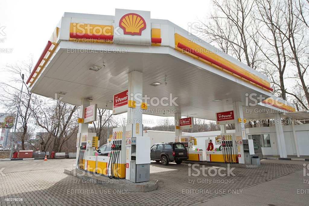 Shell petrol station in Moscow, Russia. stock photo