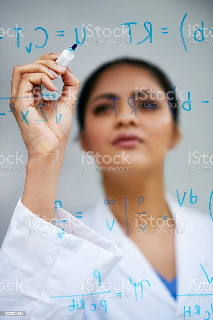She'll solve this problem stock photo