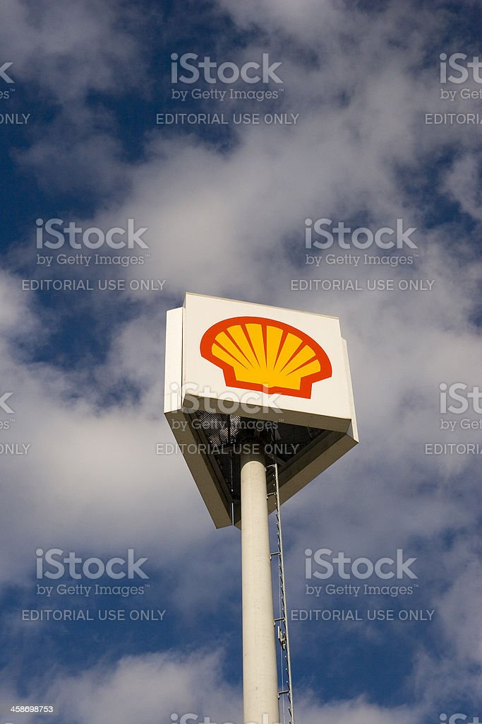 'Shell' Three-Way Sign stock photo