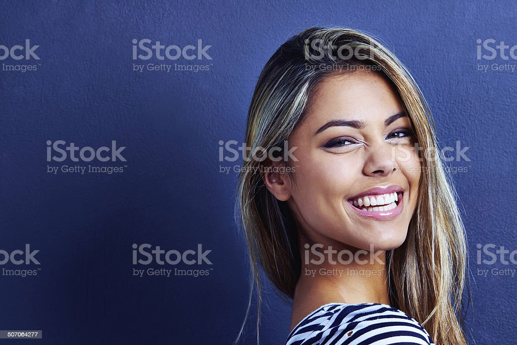 She'll turn your frown upside down stock photo