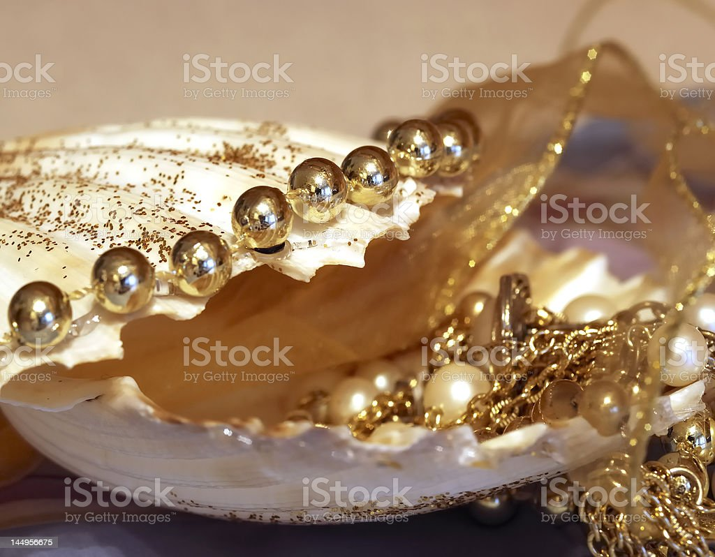 shell with pearls royalty-free stock photo
