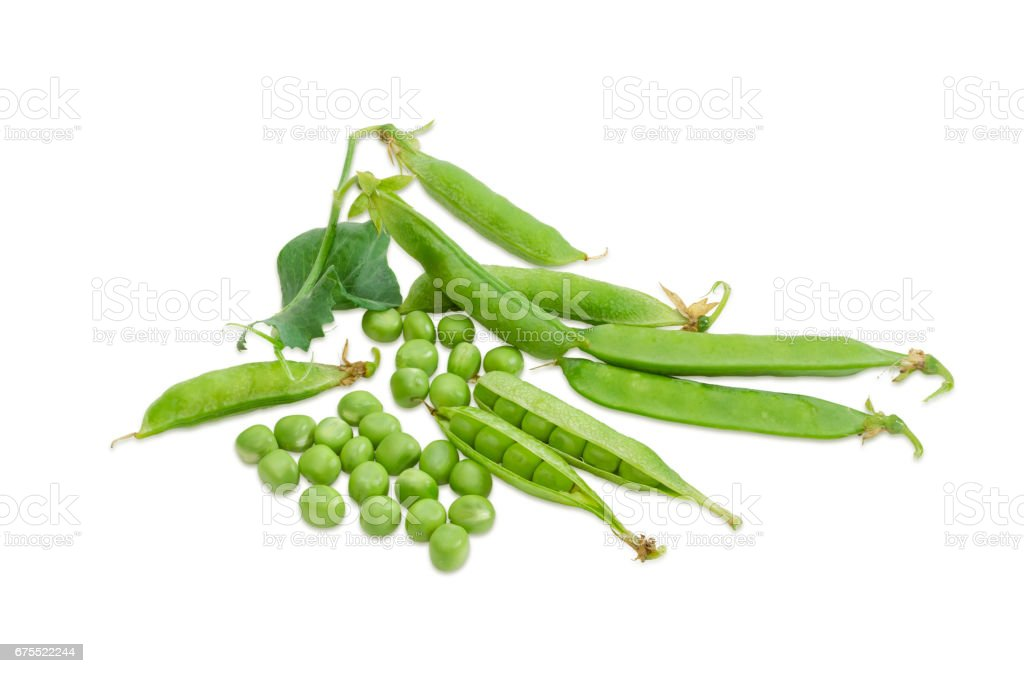 Shelled green peas and several pea pods stock photo