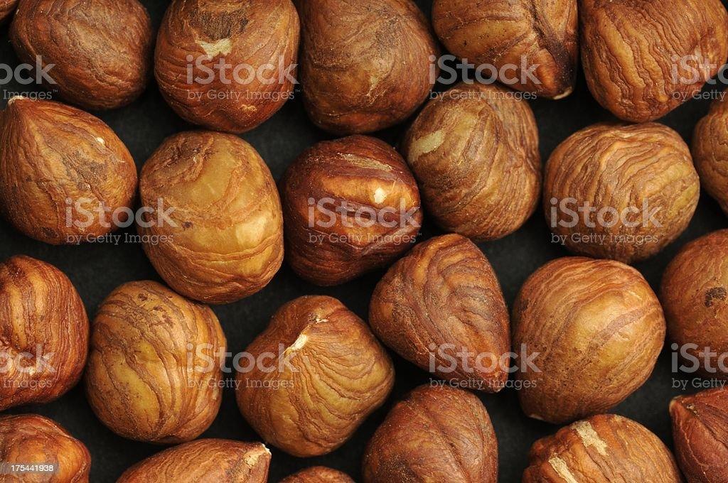 Shelled hazelnut background stock photo