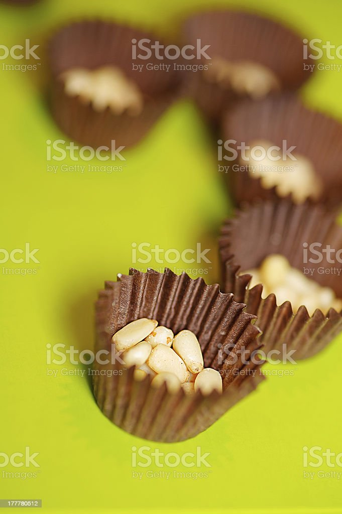Shelled pine nuts stock photo