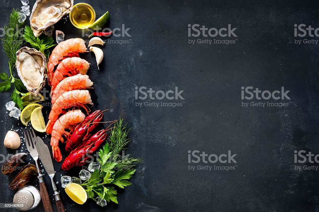 Shellfish plate of crustacean seafood stock photo