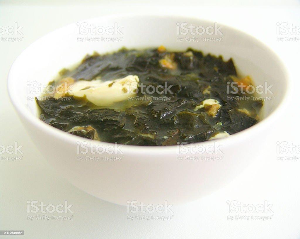 Shellfish seaweed miso soup stock photo