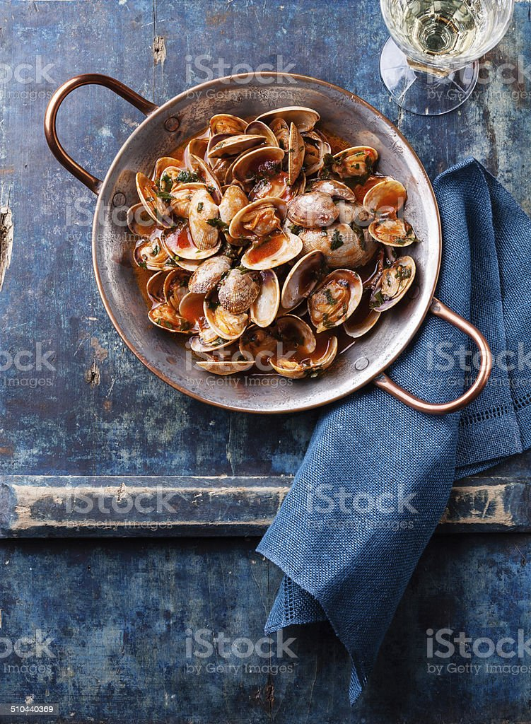 Shells vongole with tomato sauce stock photo