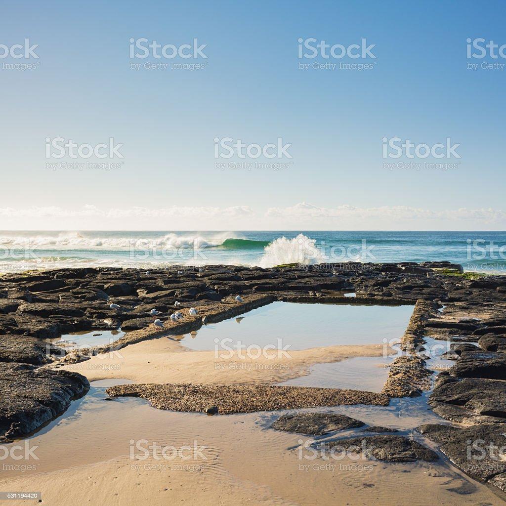 Shelly Beach Rock Pool at Ballina stock photo