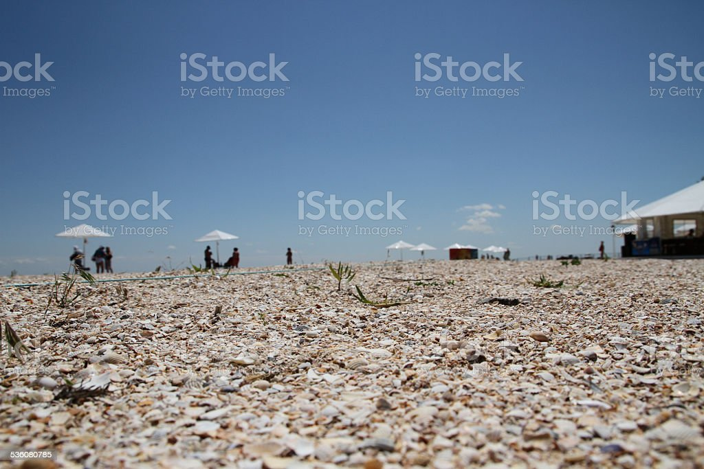 Shelly beach tourism background with blurred umbrellas stock photo