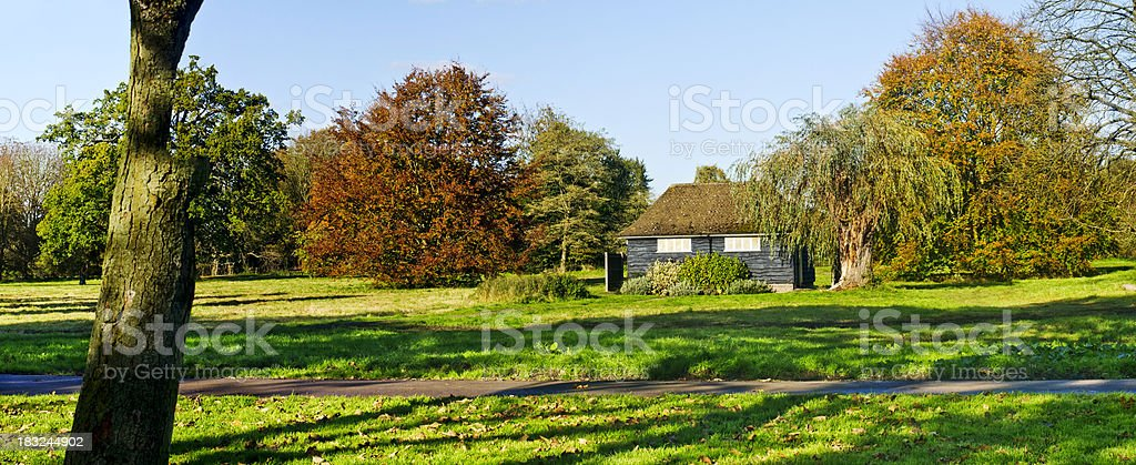 Shelter in Forest during  Autumn, Panorama royalty-free stock photo