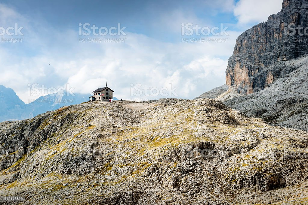 Shelter in the Dolomites mountains, stock photo