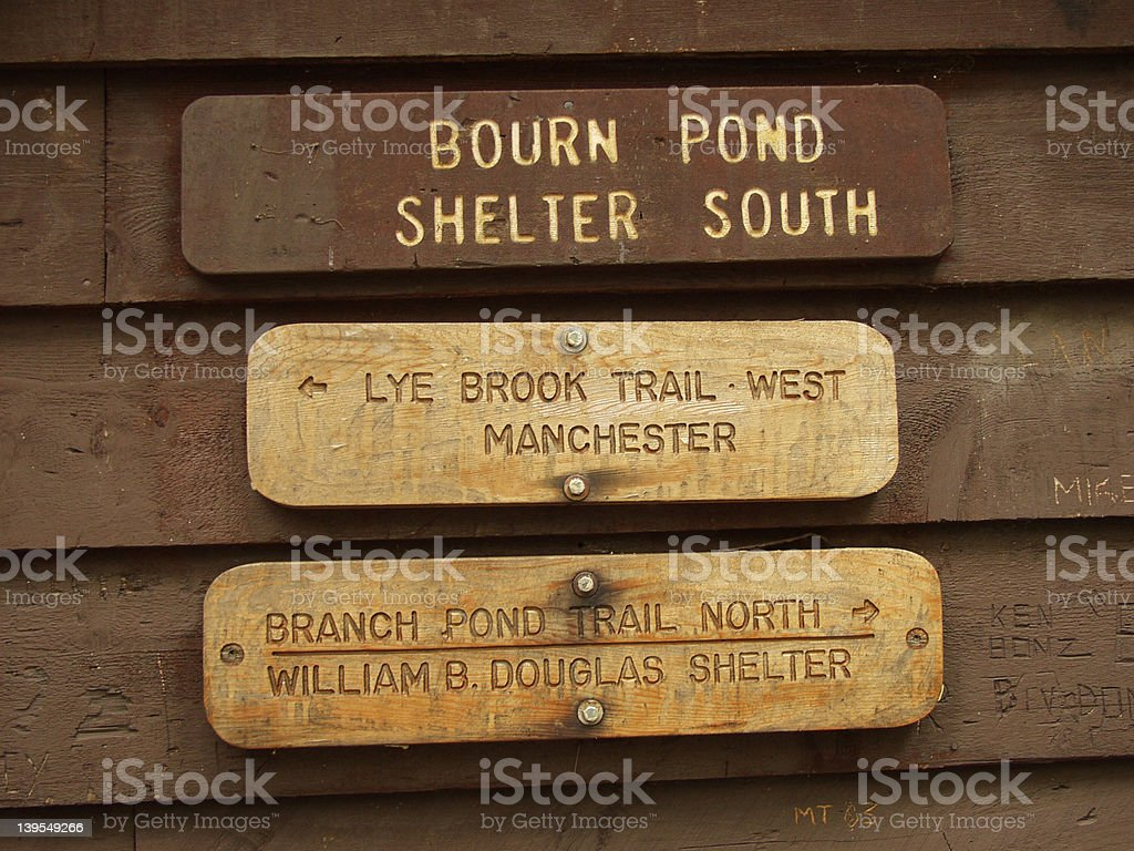 AT Shelter Sign Bourn Pond royalty-free stock photo