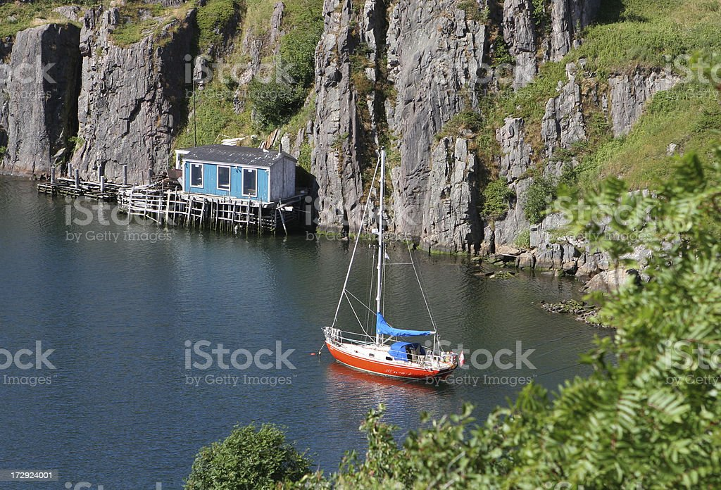 Sheltered waters at Quidi Vidi Harbour, Newfoundland stock photo