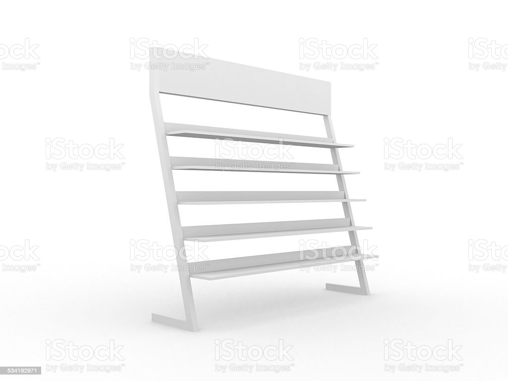 3D shelves and shelf for wrap advertising stock photo