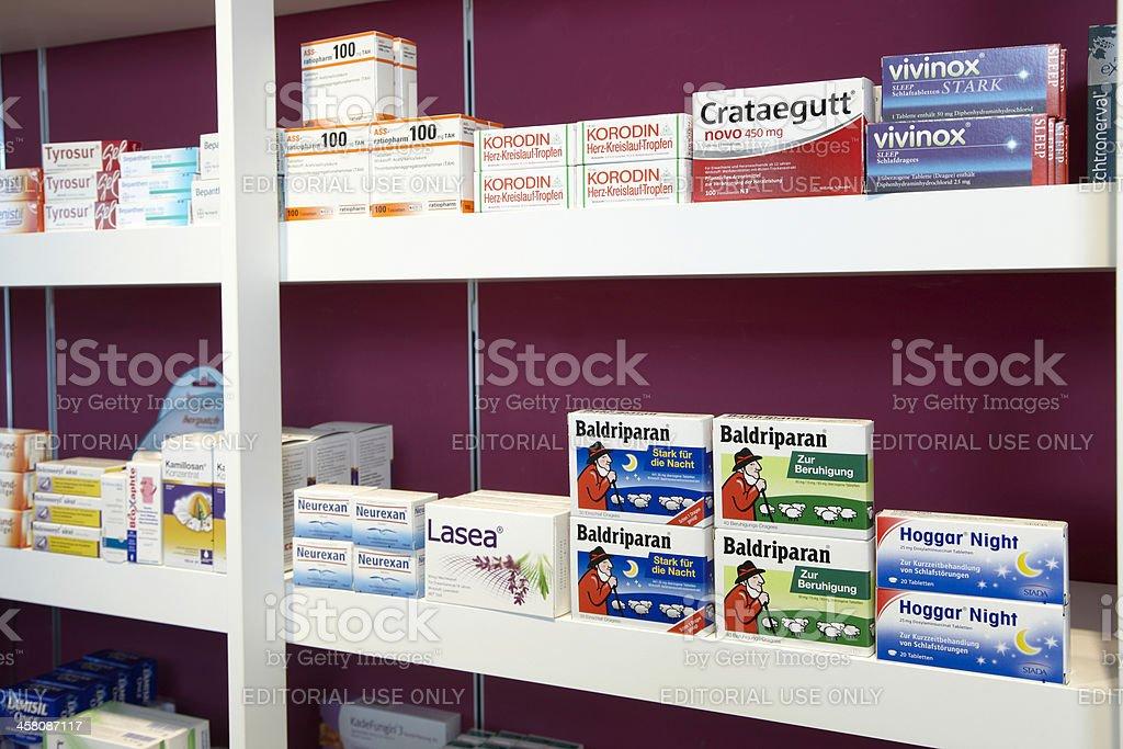 Shelves of a pharmacy focussing on sleeping pills stock photo