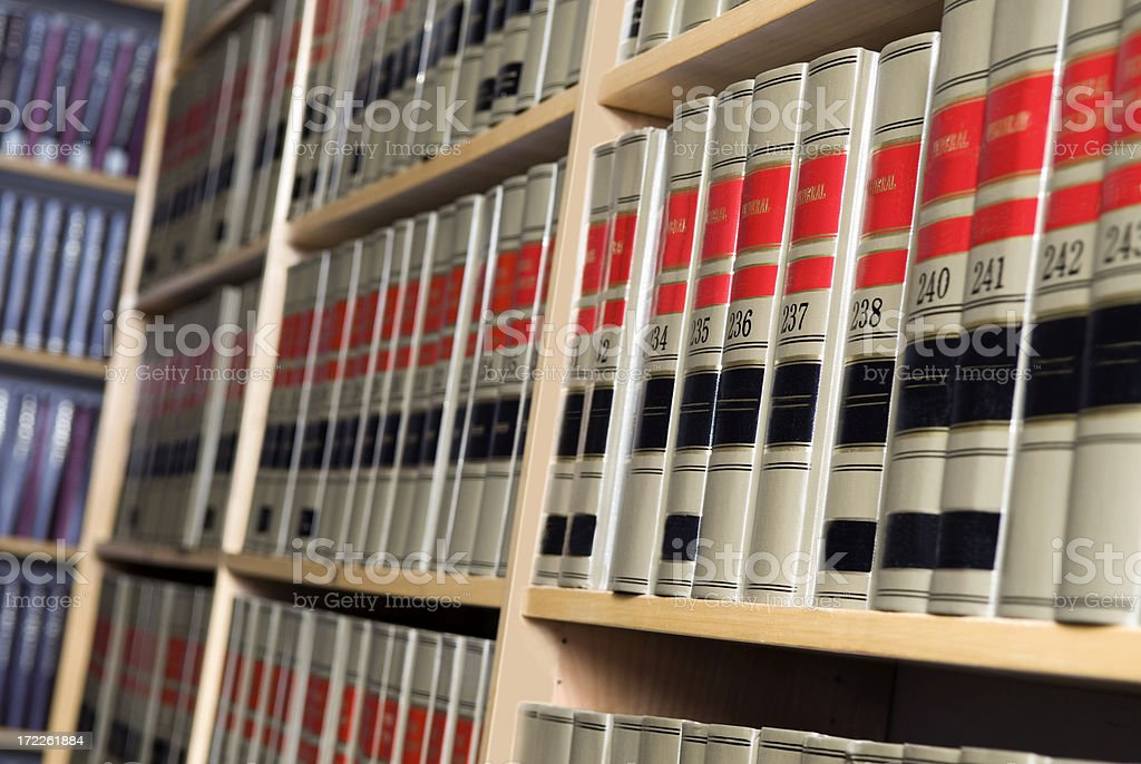 Shelves of Legal Books in Law Library stock photo