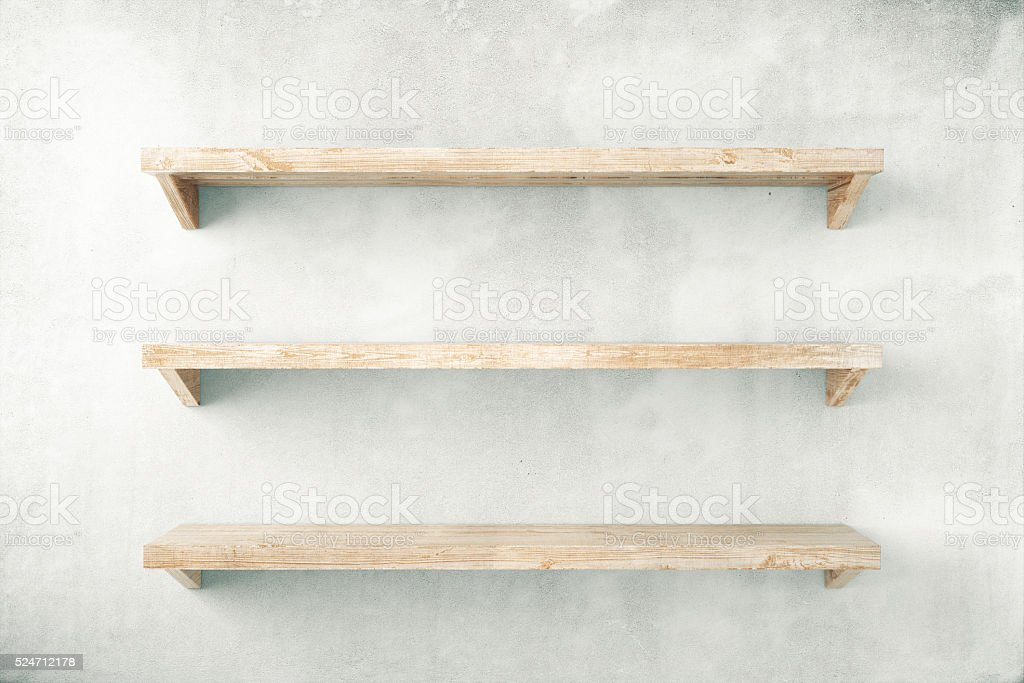 Shelves on concrete stock photo