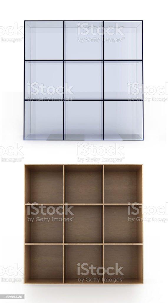 Shelves on white background royalty-free stock photo