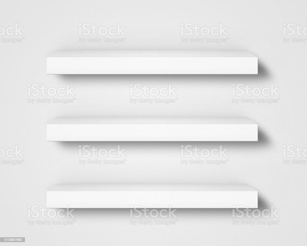 estantes en blanco en pared foto de stock libre de derechos