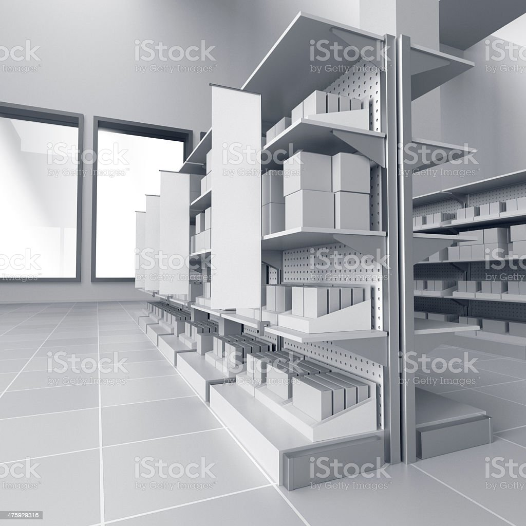 shelves with blank products and flags stock photo