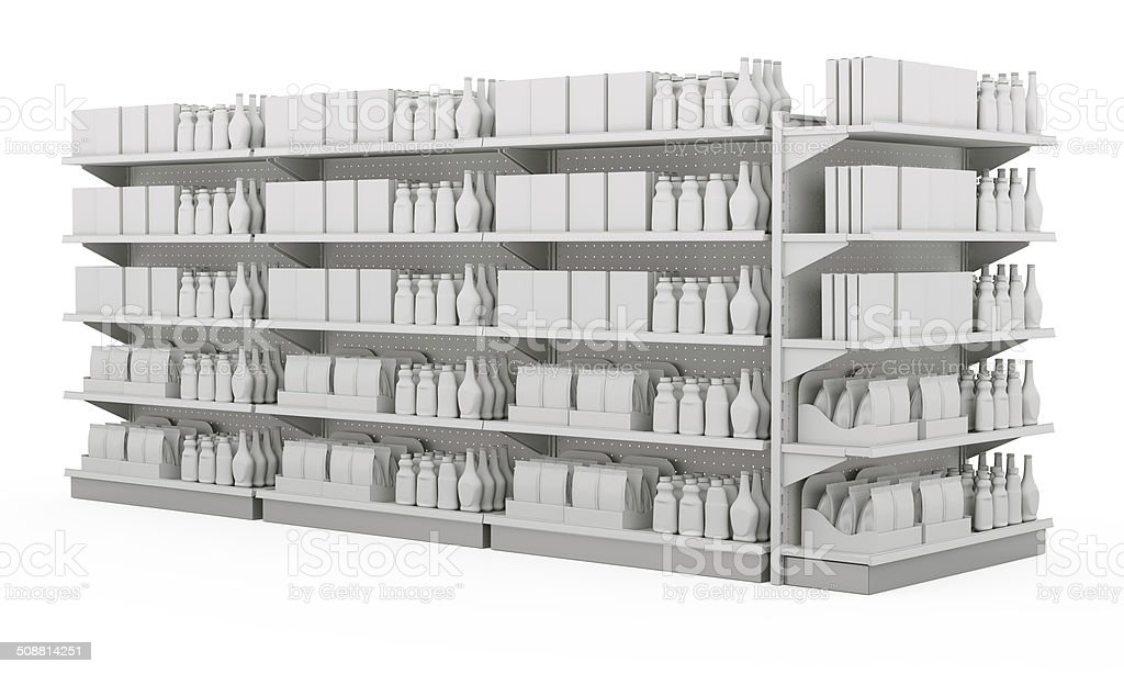 shelves with blank products stock photo