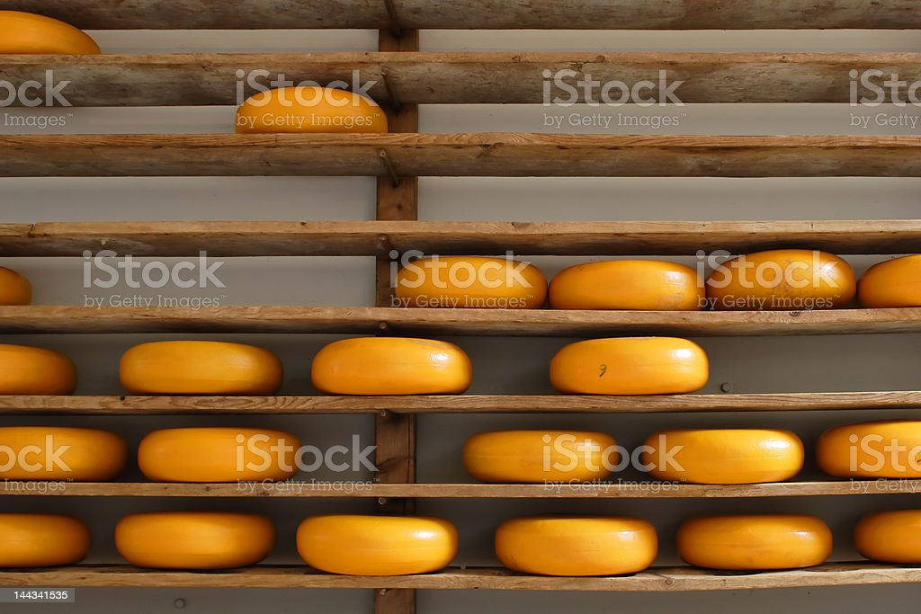 Shelves with cheese royalty-free stock photo