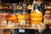 Shelves with famous Dutch cheese in in the street market.