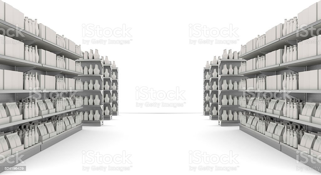 shelves with products stock photo