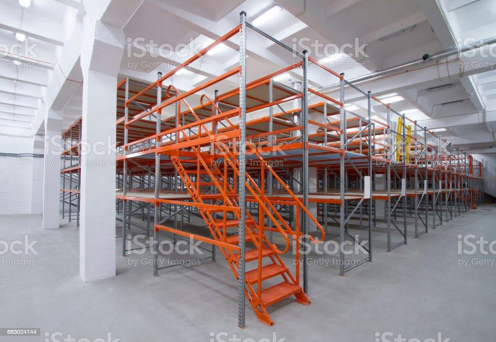 Shelving mezzanine system. Empty metal racks in a large modern warehouse. stock photo