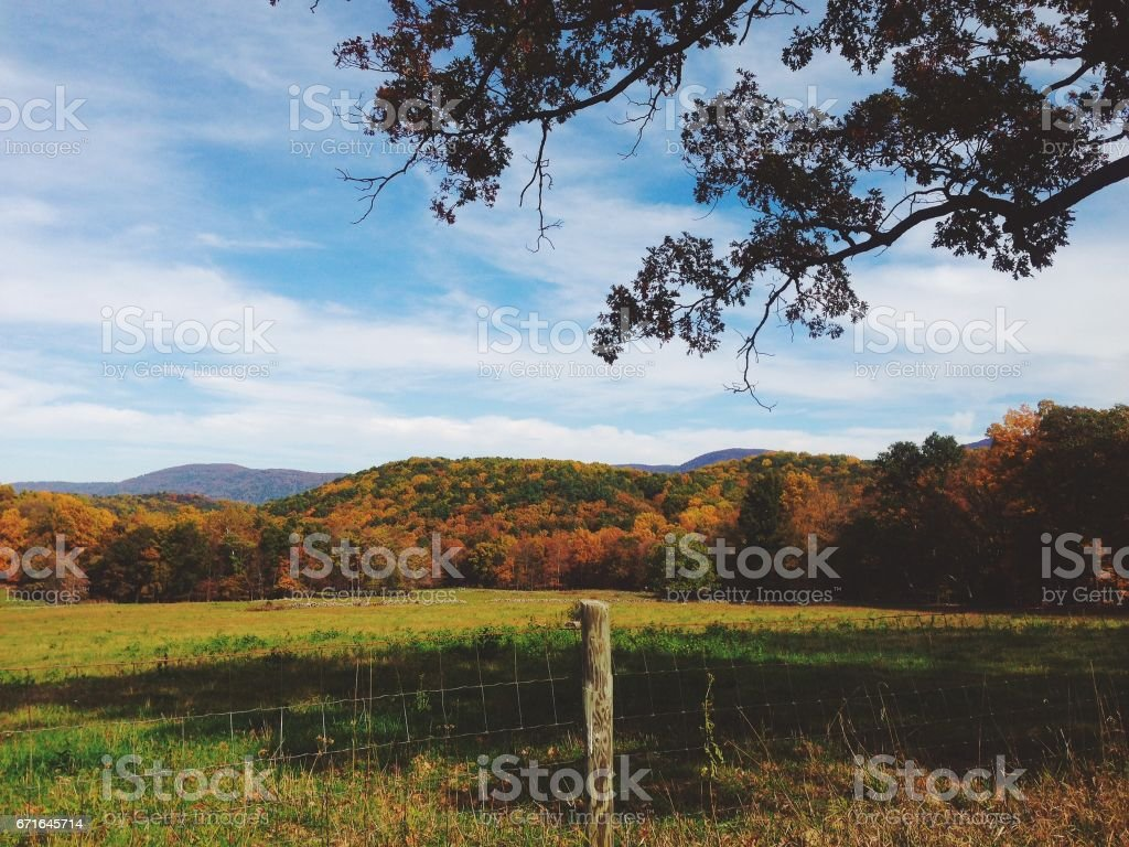 Shenandoah Mountains in the fall stock photo