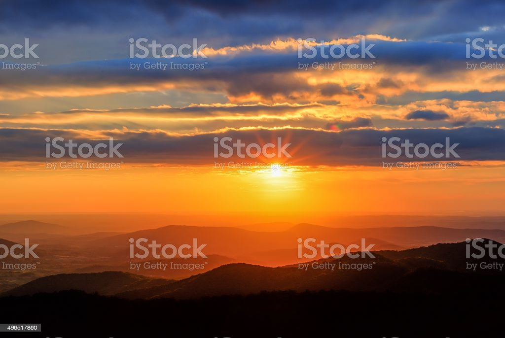 Shenandoah National Park at Sunrise stock photo