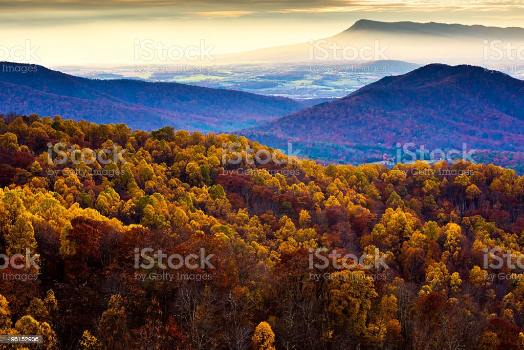 Shenandoah National Park at Sunset in Autumn stock photo