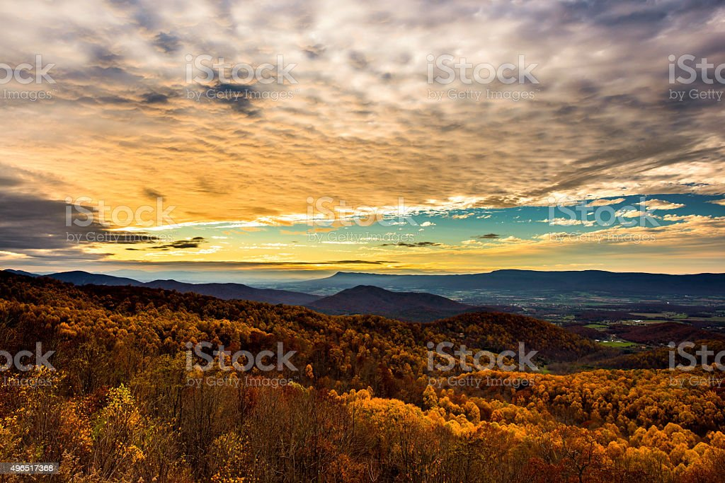 Shenandoah National Park at Sunset in Autumn stock photo