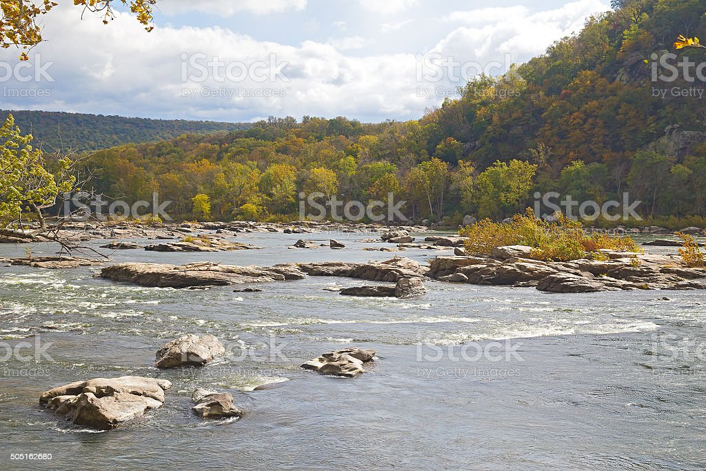 Shenandoah River along Appalachian trail in West Virginia, USA. stock photo