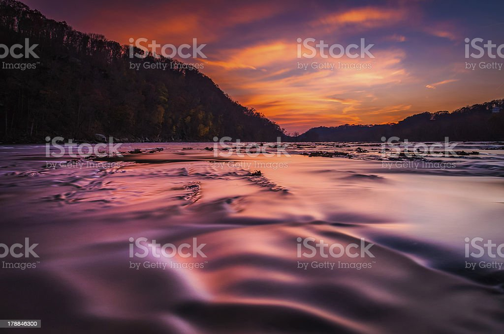 Shenandoah River at sunset, in Harper's Ferry, West Virginia. stock photo