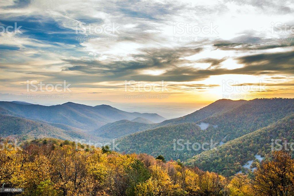 Shenandoah Virginia sunset stock photo