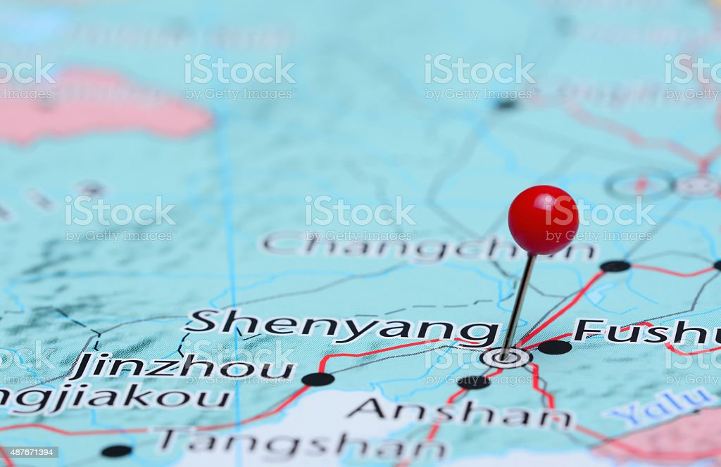Shenyang pinned on a map of Asia stock photo