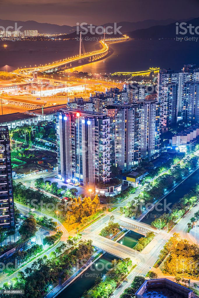 Shenzhen bridge bridge night stock photo